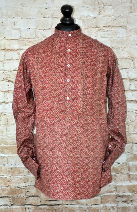 """Chrishner"" Kaftan Red Flower Shirt Nehru Collar"